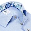 Light blue herringbone linen shirt.