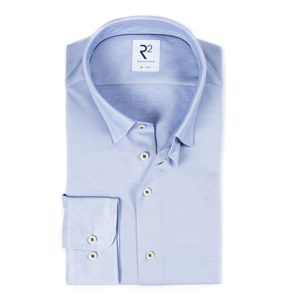 R2 Light blue piquet cotton shirt.