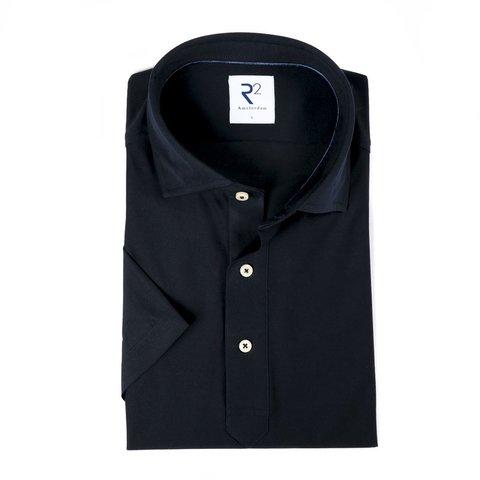 Navy blue piquet cotton shirt.