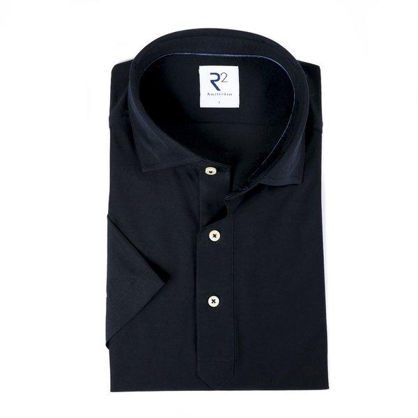R2 Navy blue piquet cotton shirt.