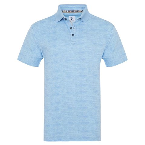 Light blue cotton polo.