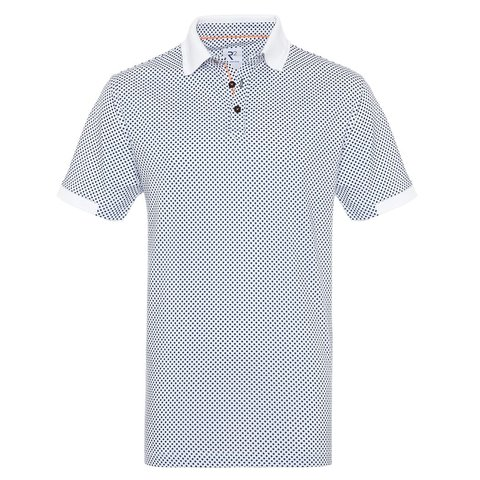 White dots print dobby knitted cotton polo.