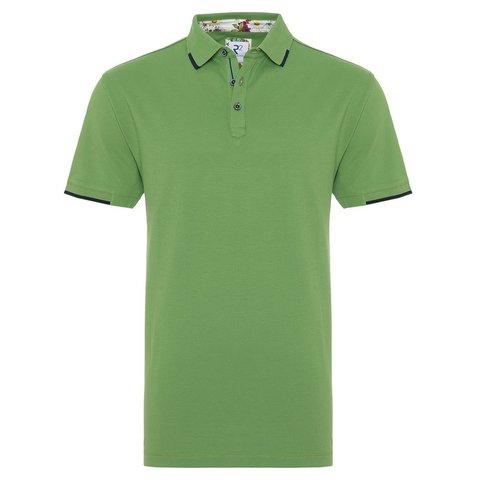 Green piquet cotton polo.