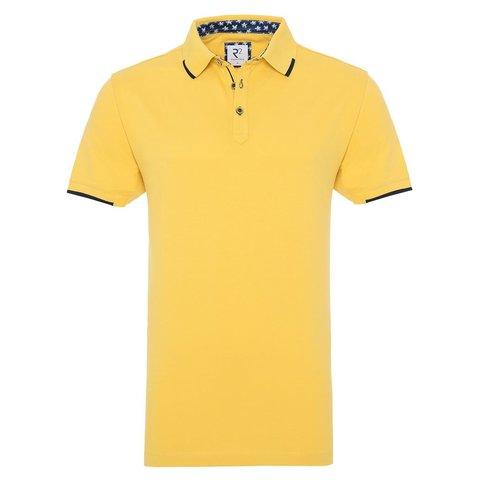 Yellow piquet cotton polo.