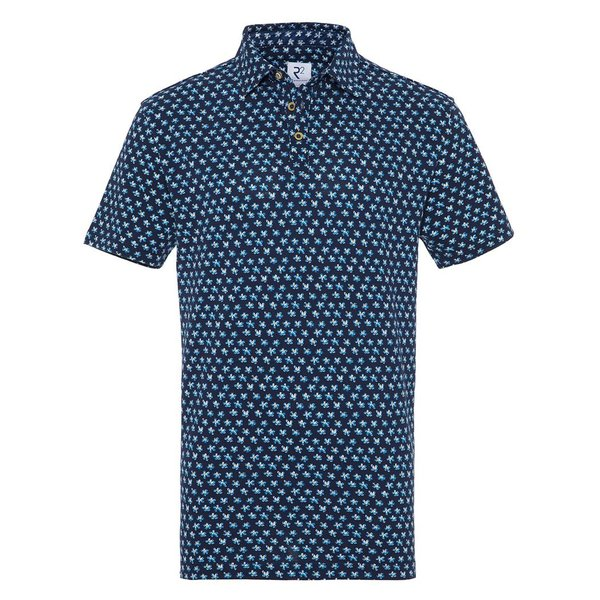 R2 Navy blue flower print cotton polo.
