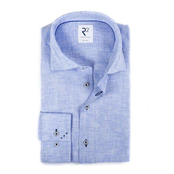 R2 Licht blauw linnen overhemd.