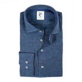R2 Kobalt blauw linnen overhemd.