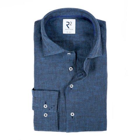 Cobalt blue linen shirt.