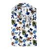 White flower print linen shirt.