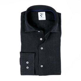 R2 Zwart linnen overhemd.