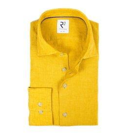 R2 Yellow linen shirt.