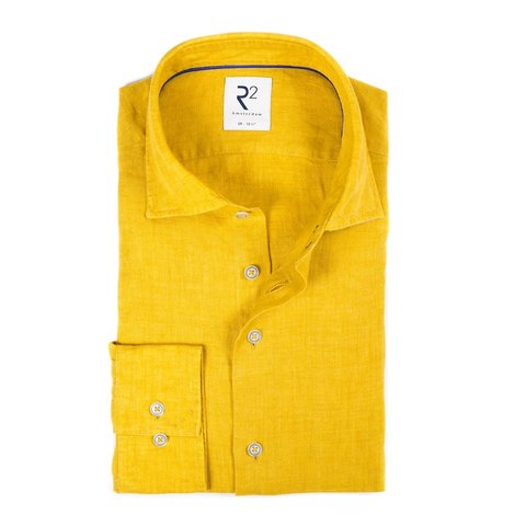 Yellow linen shirt.