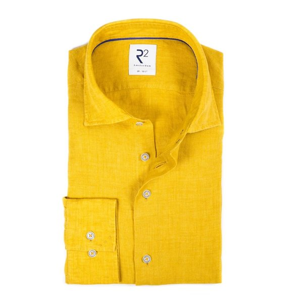 R2 Yellow linen shirt.