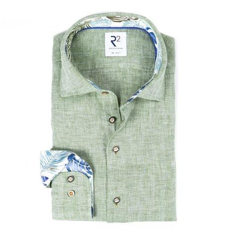 Green herringbone linen shirt.