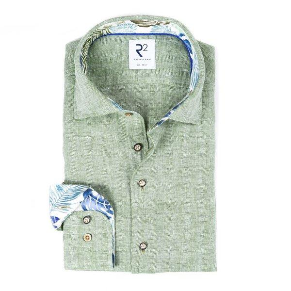 R2 Groen herringbone linnen overhemd.