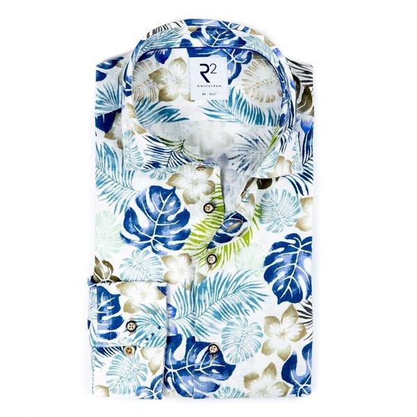 R2 White leaf print herringbone linen shirt.