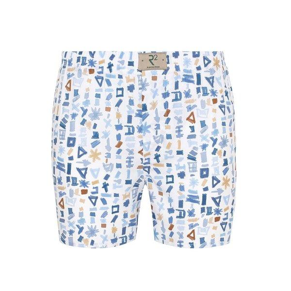 R2 White abstract print cotton boxershorts.