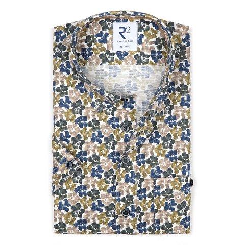 Short sleeves green flower print dobby cotton shirt.