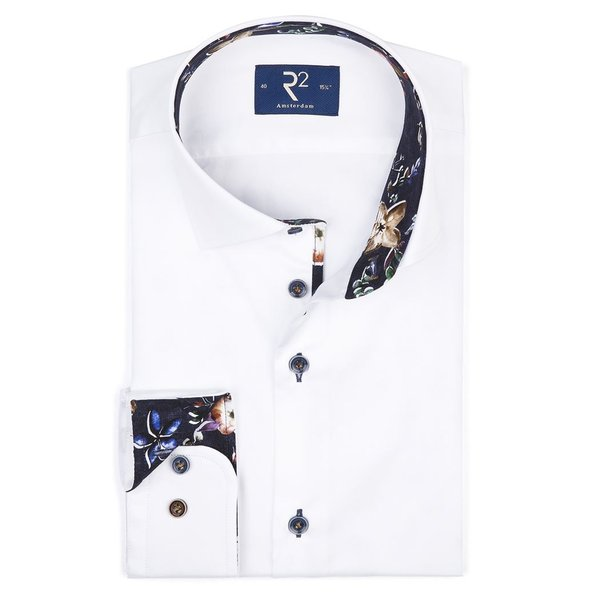 R2 White solid shirt with contrast of dark flowers.