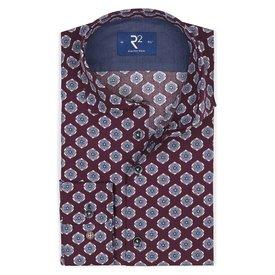 R2 Bordeaux bloemenprint katoenen overhemd.