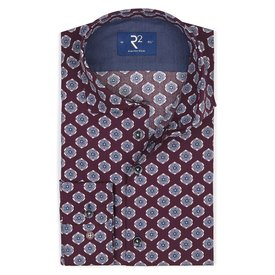 R2 Bordeaux flower print cotton shirt.