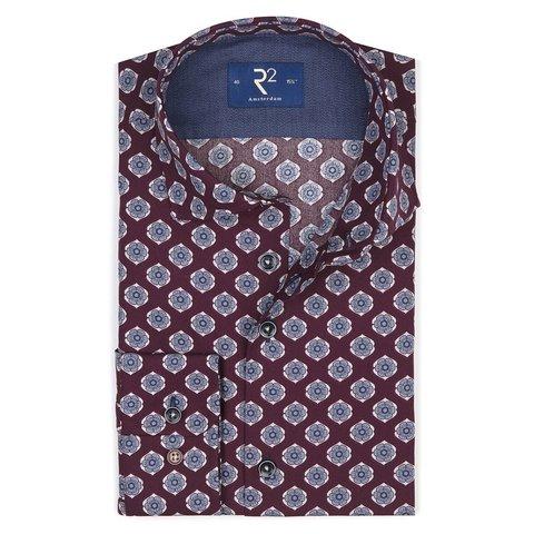 Bordeaux flower print cotton shirt.