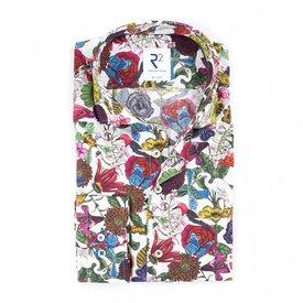 R2 White flower print organic cotton shirt.