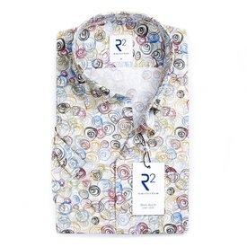 R2 Korte mouwen wit grafische print katoenen overhemd.