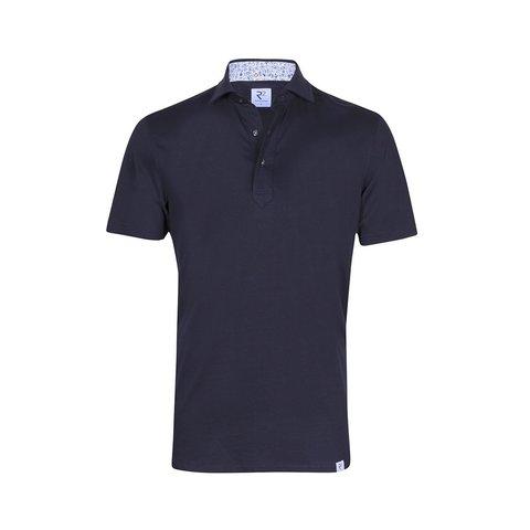 Donkerblauwe single jersey shirtpolo.