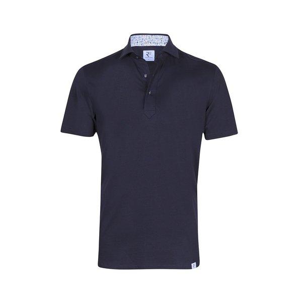 R2 Donkerblauwe single jersey shirtpolo.