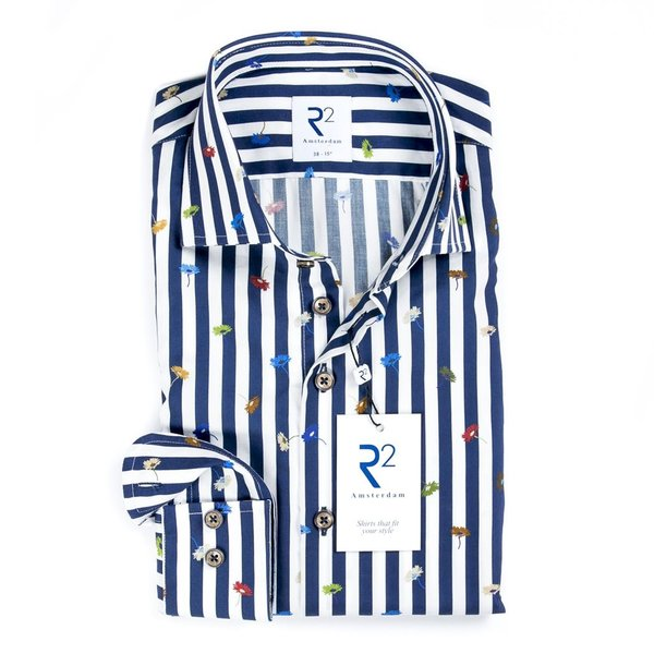 R2 White blue striped with flowers cotton shirt.