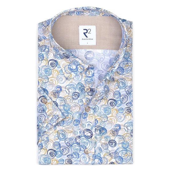 R2 Short sleeve white graphic print cotton shirt.