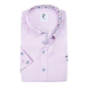 R2 Korte mouwen roze oxford katoenen overhemd.