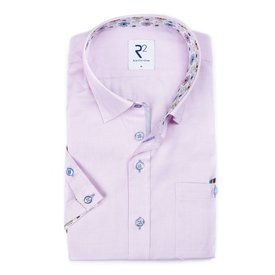 R2 Short sleeve pink oxford cotton shirt.
