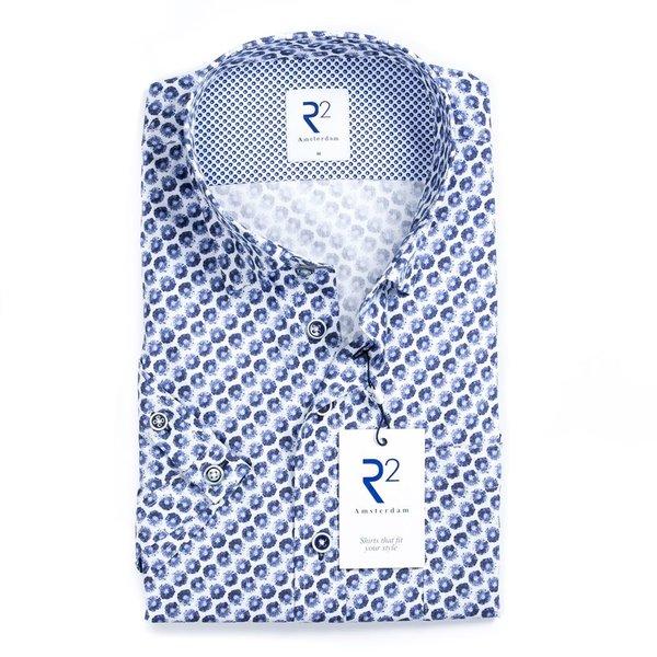 R2 Short sleeve white circle print cotton shirt.