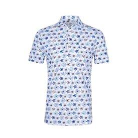 R2 Weißes grafischerprint piquet Baumwoll shirtpolo.