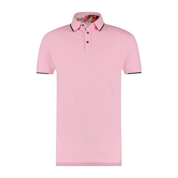 R2 Pink piquet cotton polo.