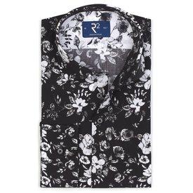 R2 Black flower print cotton shirt.
