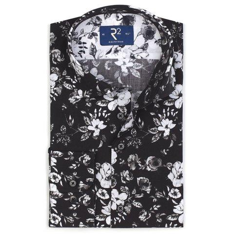 Schwarzes Blumenprint Baumwollhemd.