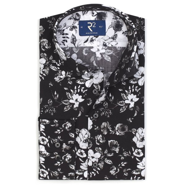 R2 Zwart bloemenprint katoenen overhemd.