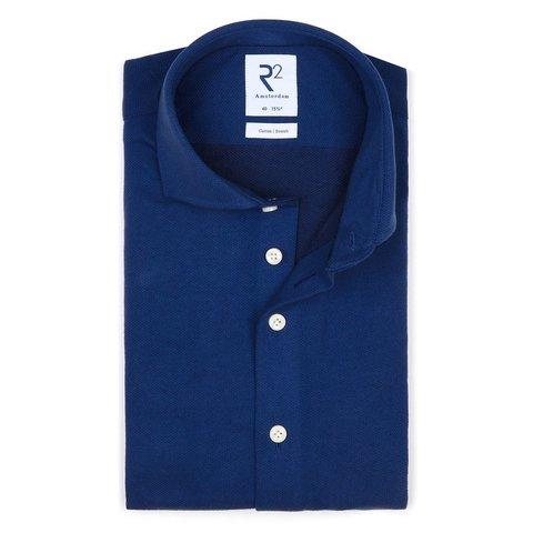 Marineblaues Piquet-Strickhemd aus Baumwolle.