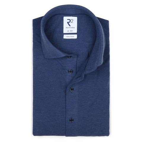 Blue piquet knitted cotton shirt.