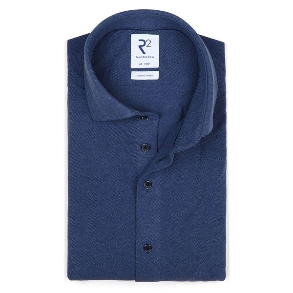 R2 Blue piquet knitted cotton shirt.