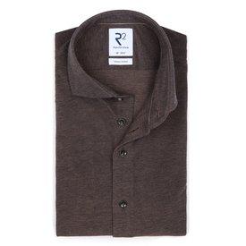 R2 Grey piquet knitted cotton shirt.