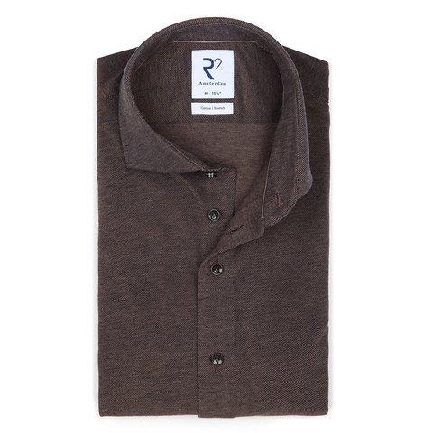 Grey piquet knitted cotton shirt.