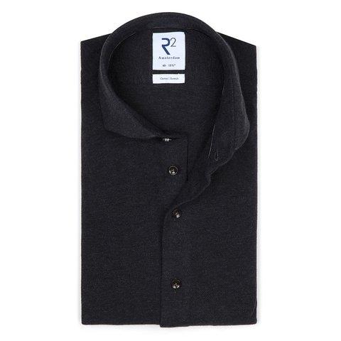 Grey melange piquet knitted cotton shirt.