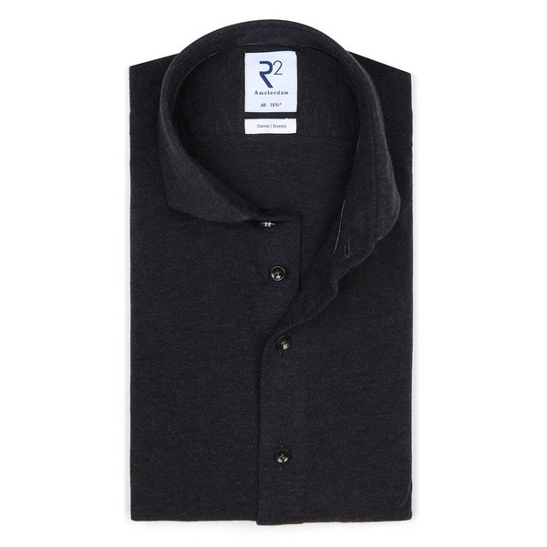 R2 Grey melange piquet knitted cotton shirt.