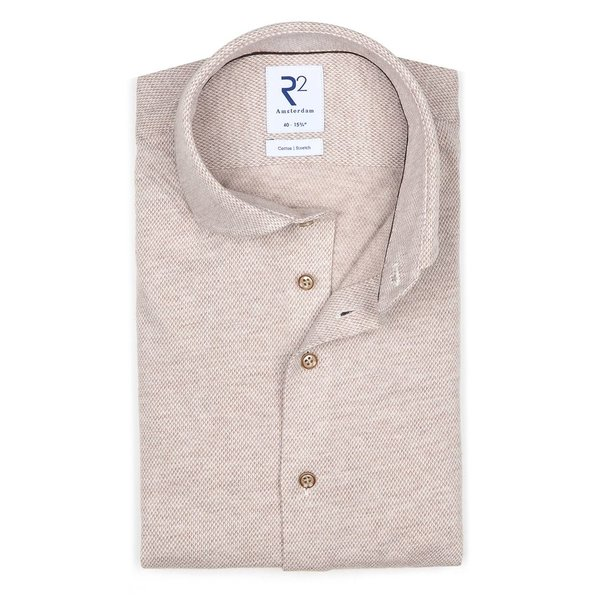 R2 Beige dobby knitted cotton shirt.
