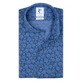 R2 Blaues Piquet-Strickhemd aus Baumwolle.