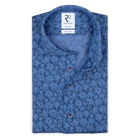 Blauw piquet knitted katoenen overhemd.